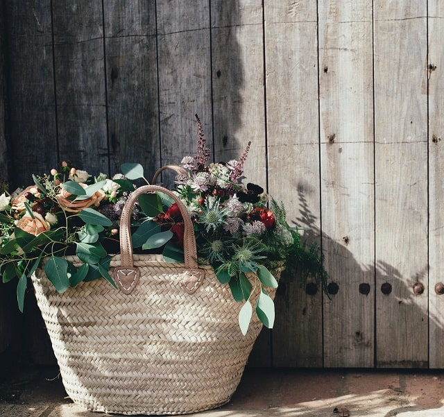 Basket tote of flowers