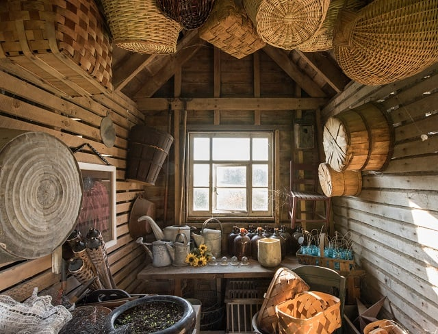 Interior of a garden shed with baskets